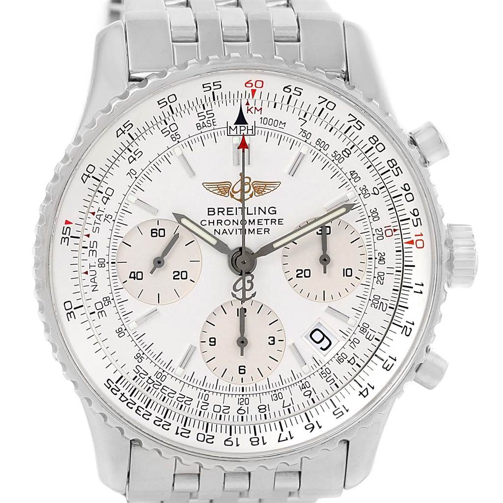 16007 Breitling Navitimer Chrono Silver Dial Steel Bracelet Watch A23322 SwissWatchExpo