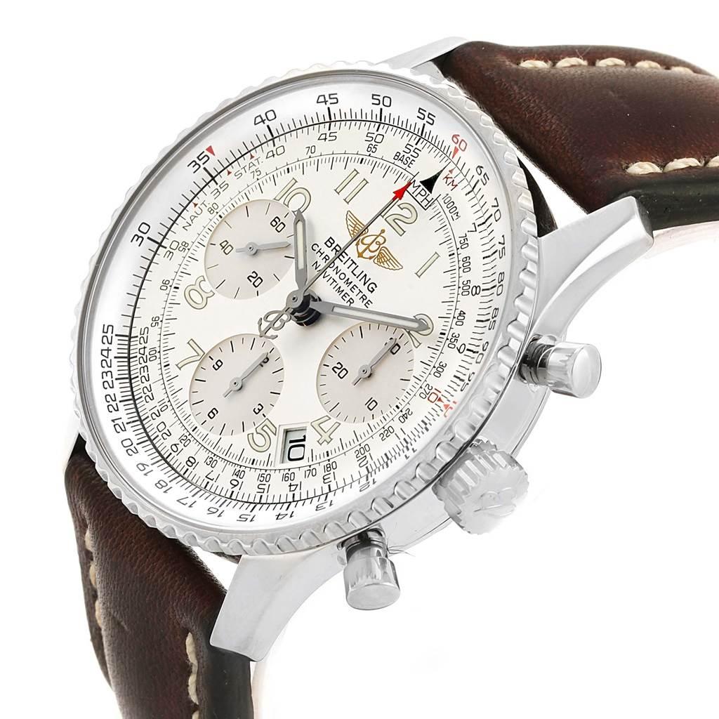 16194 Breitling Navitimer Chrono Silver Dial Steel Bracelet Watch A23322 SwissWatchExpo