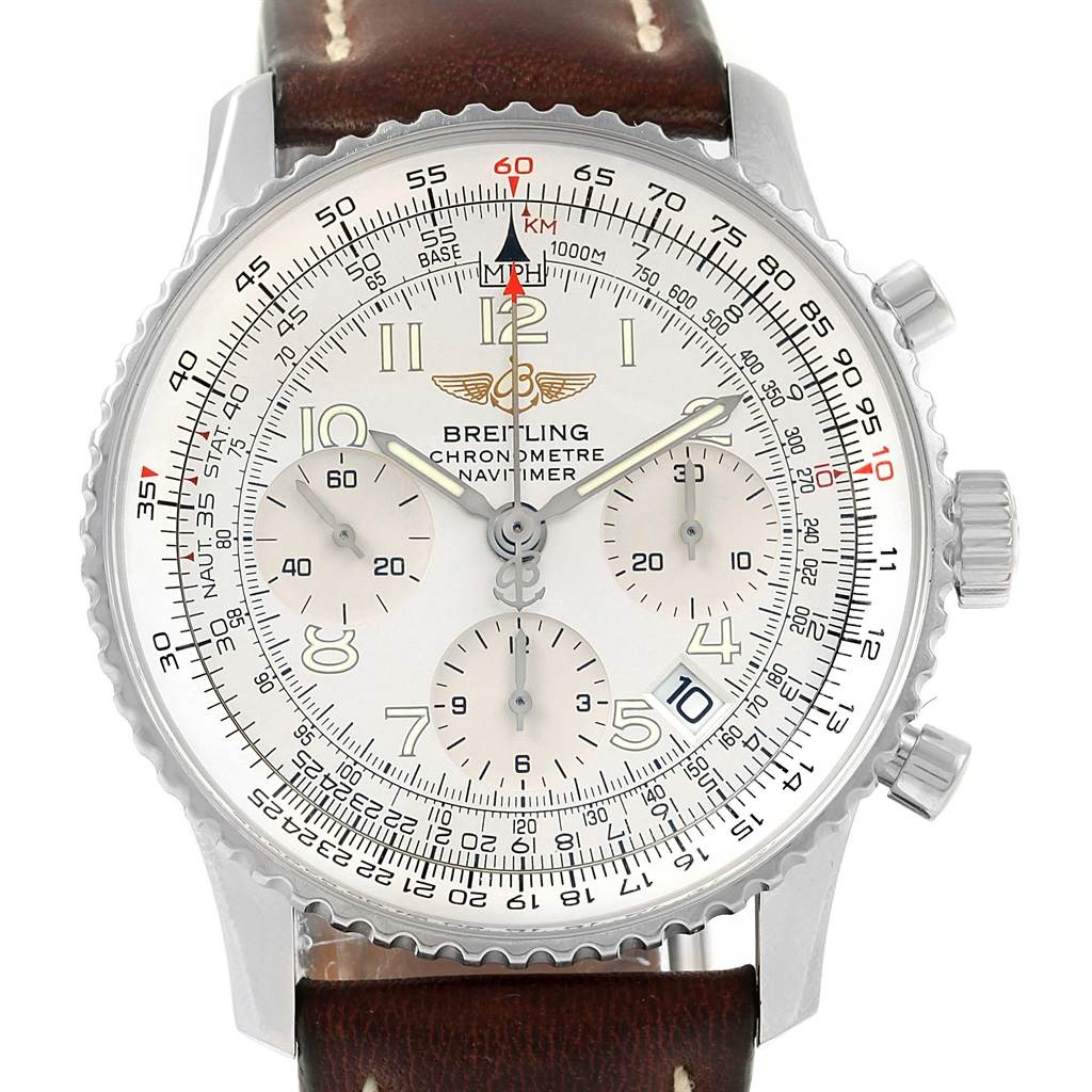 502bd41f0009 ... 16194 Breitling Navitimer Chrono Silver Dial Steel Bracelet Watch A23322  SwissWatchExpo ...