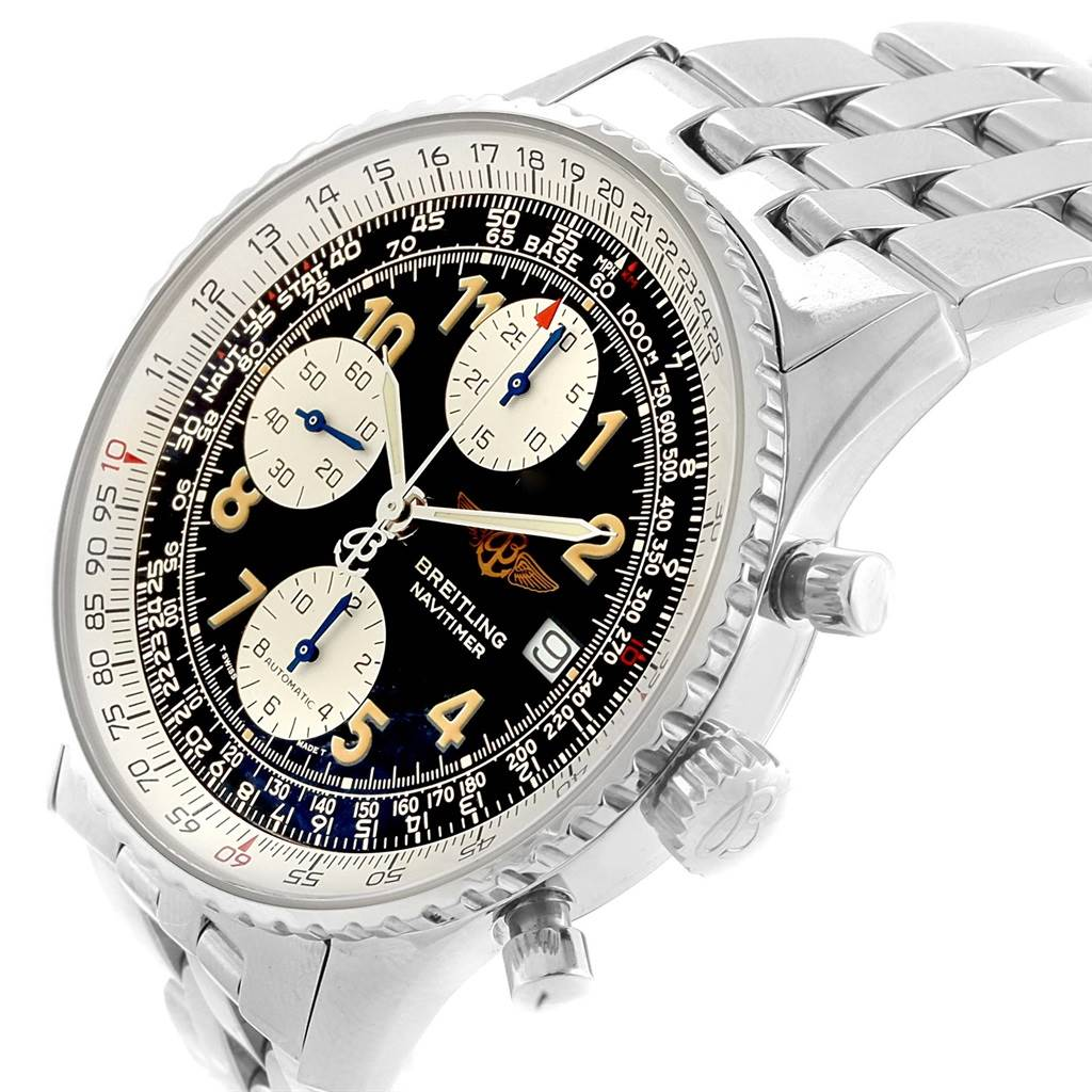 16336 Breitling Navitimer II Black Dial Steel Mens Watch A13022 SwissWatchExpo