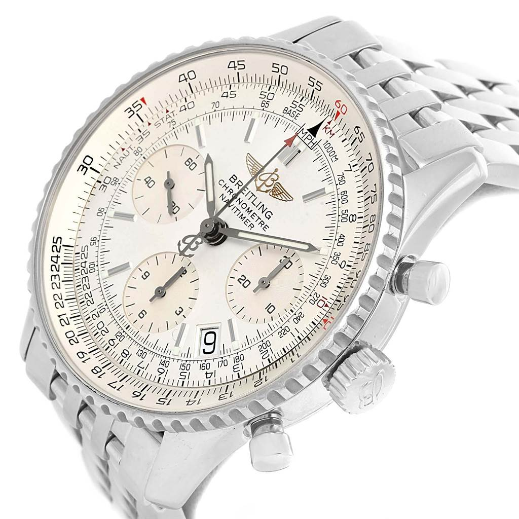 16340 Breitling Navitimer Chronograph Silver Baton Dial Steel Watch A23322 SwissWatchExpo