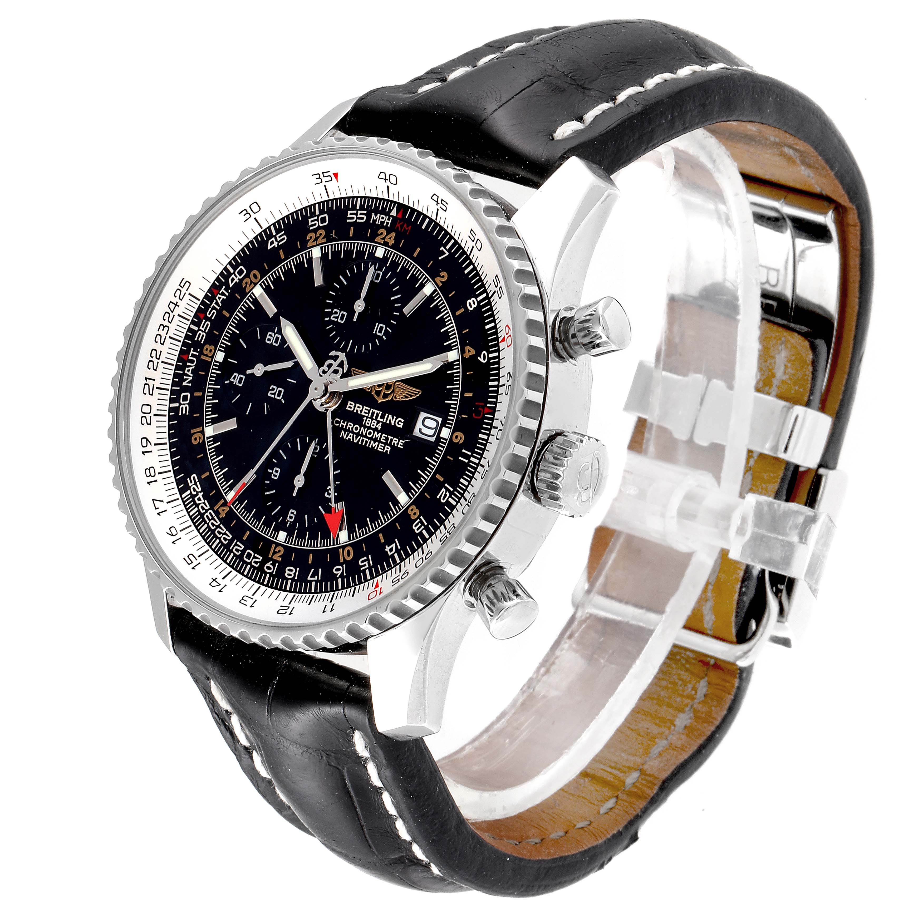 Breitling Navitimer World Black Dial Steel Automatic Mens Watch A24322 SwissWatchExpo