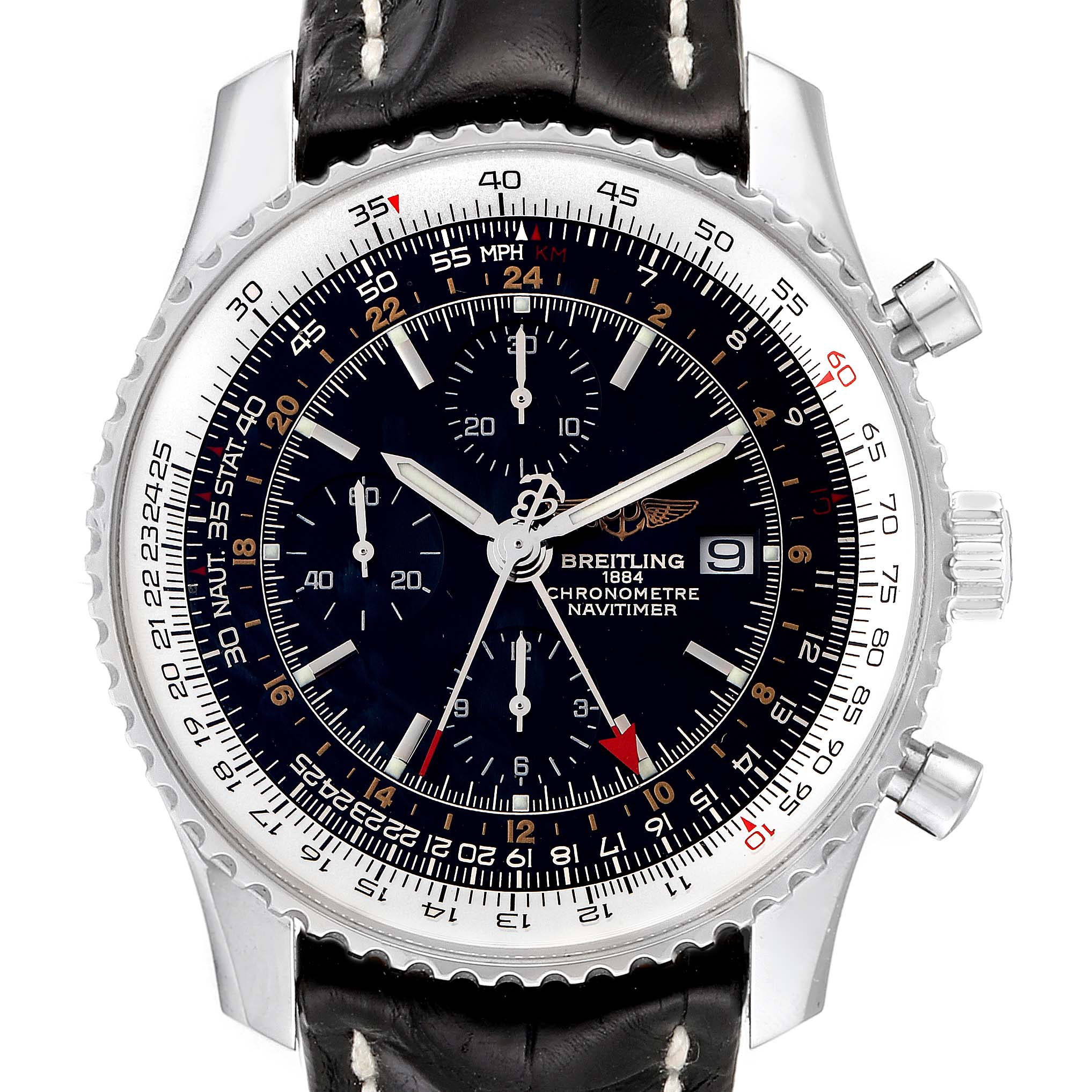 Breitling Navitimer World Black Dial Steel Automatic Mens Watch A24322