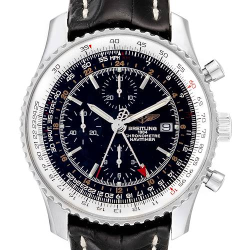 Photo of Breitling Navitimer World 46mm Black Strap Steel Mens Watch A24322