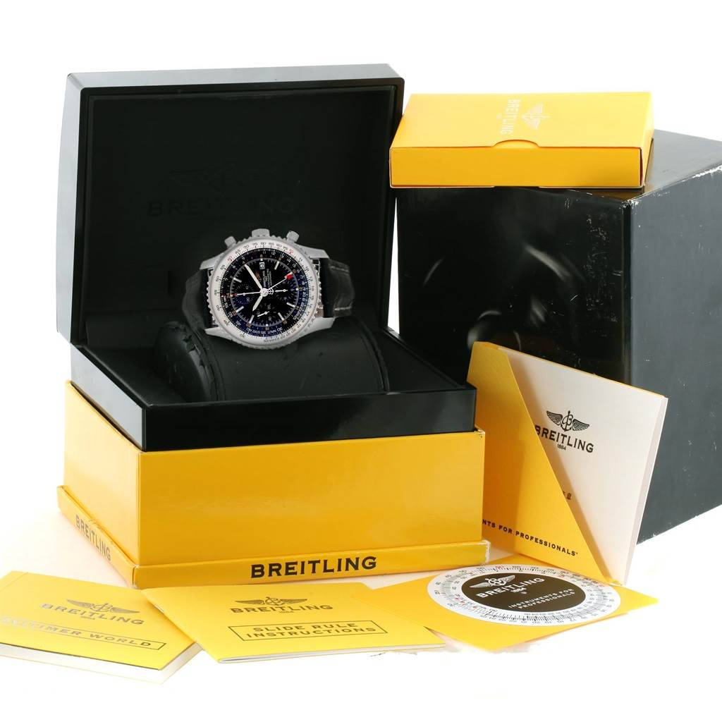11688A Breitling Navitimer World Black Dial Steel Automatic Mens Watch A24322 SwissWatchExpo