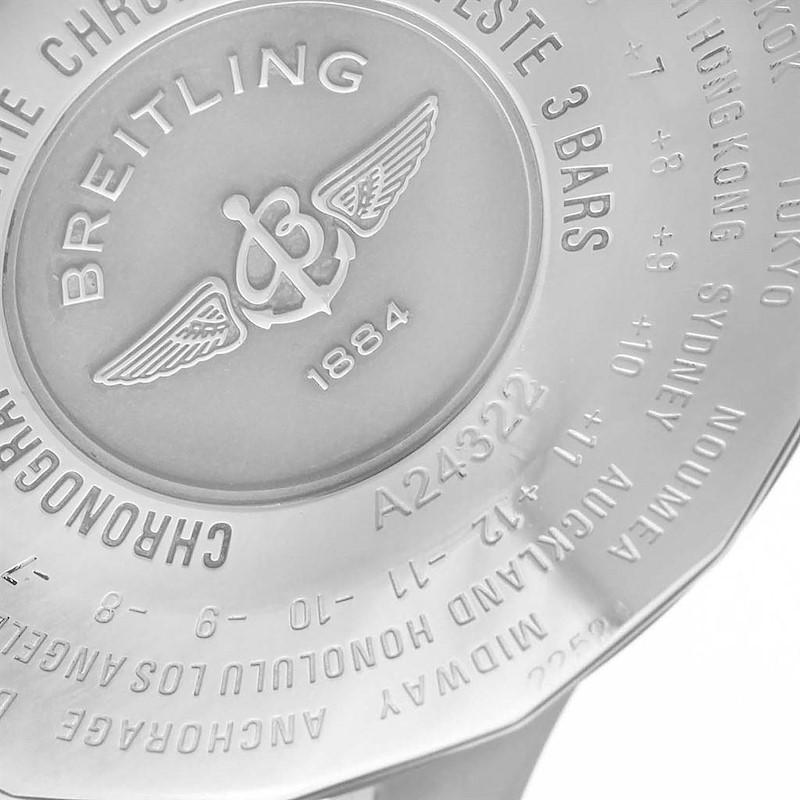 Breitling Navitimer World 46mm Black Strap Steel Mens Watch A24322 SwissWatchExpo