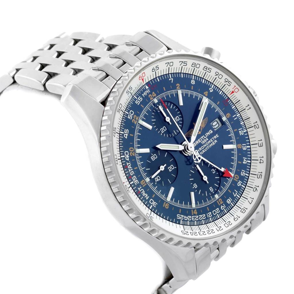16824 Breitling Navitimer World Blue Dial Steel Mens Watch A24322 Box Papers SwissWatchExpo