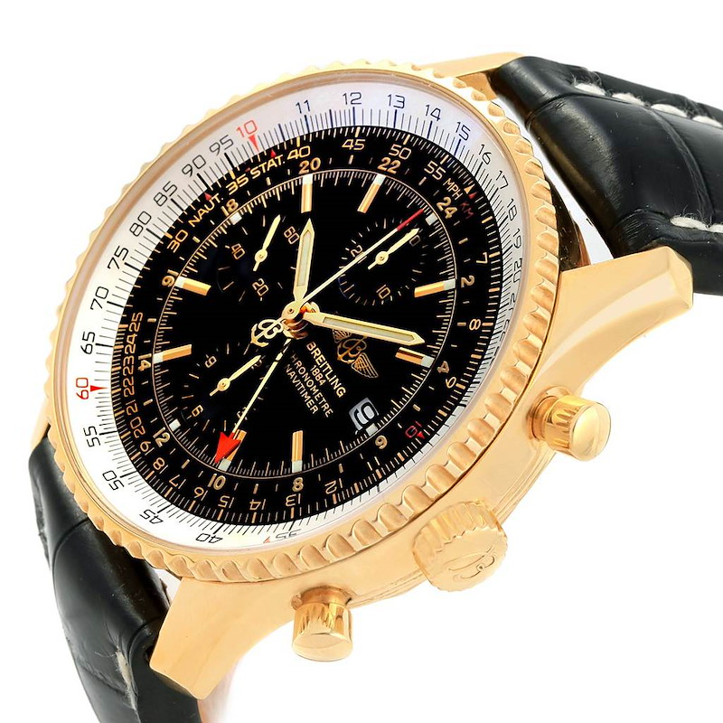 Breitling Navitimer World Yellow Gold Limited Edition Mens Watch K24322 SwissWatchExpo