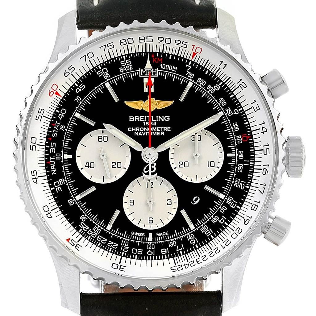 Breitling Navitimer 01 46mm Black Dial Leather Strap Mens Watch AB0127 SwissWatchExpo