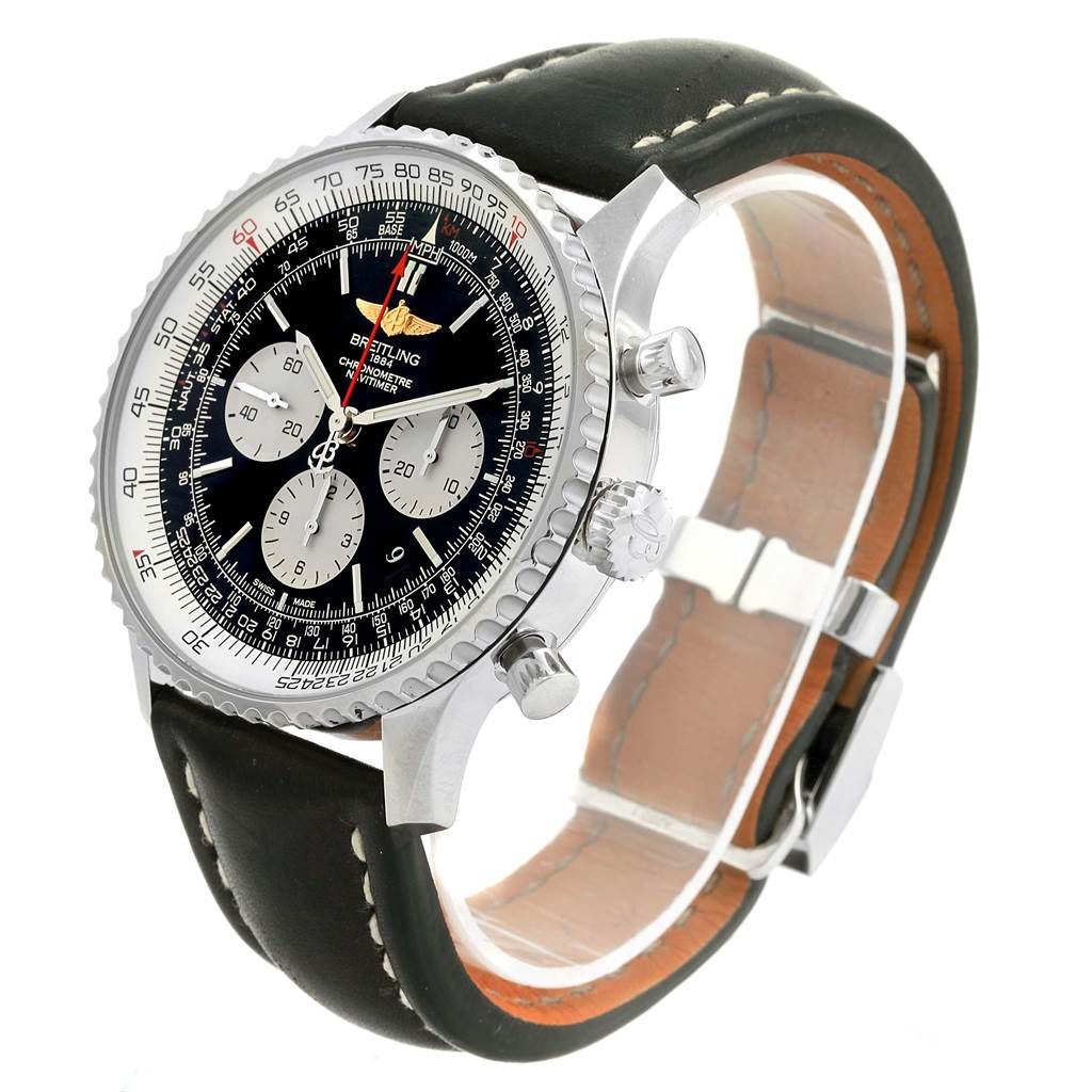 17531 Breitling Navitimer 01 46mm Black Dial Leather Strap Mens Watch AB0127 SwissWatchExpo