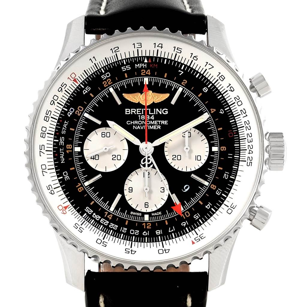 17535 Breitling Navitimer GMT 48 Black Dial Leather Strap Mens Watch AB0441 SwissWatchExpo