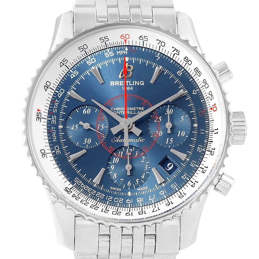 Breitling Navitimer Montbrillant 01 Blue Dial LE Mens Watch AB0130 SwissWatchExpo