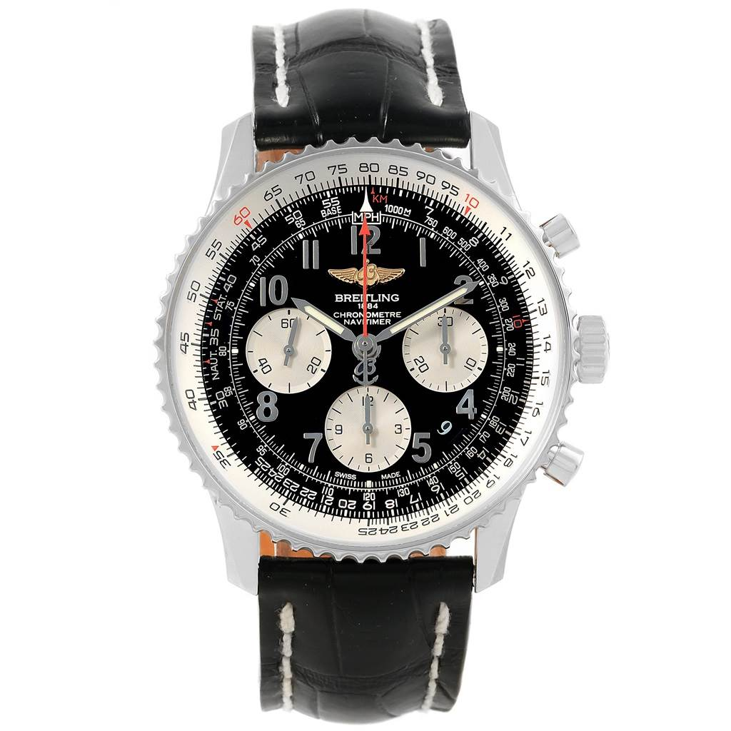 17609 Breitling Navitimer 01 Black Dial Steel Mens Watch AB0120 Box Papers SwissWatchExpo
