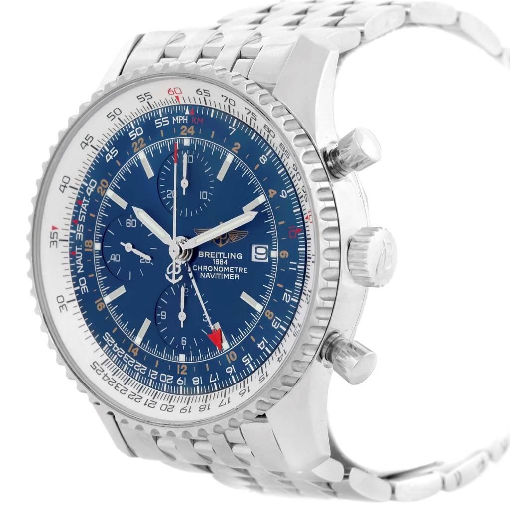 17725 Breitling Navitimer World Blue Dial Steel Mens Watch A24322 SwissWatchExpo