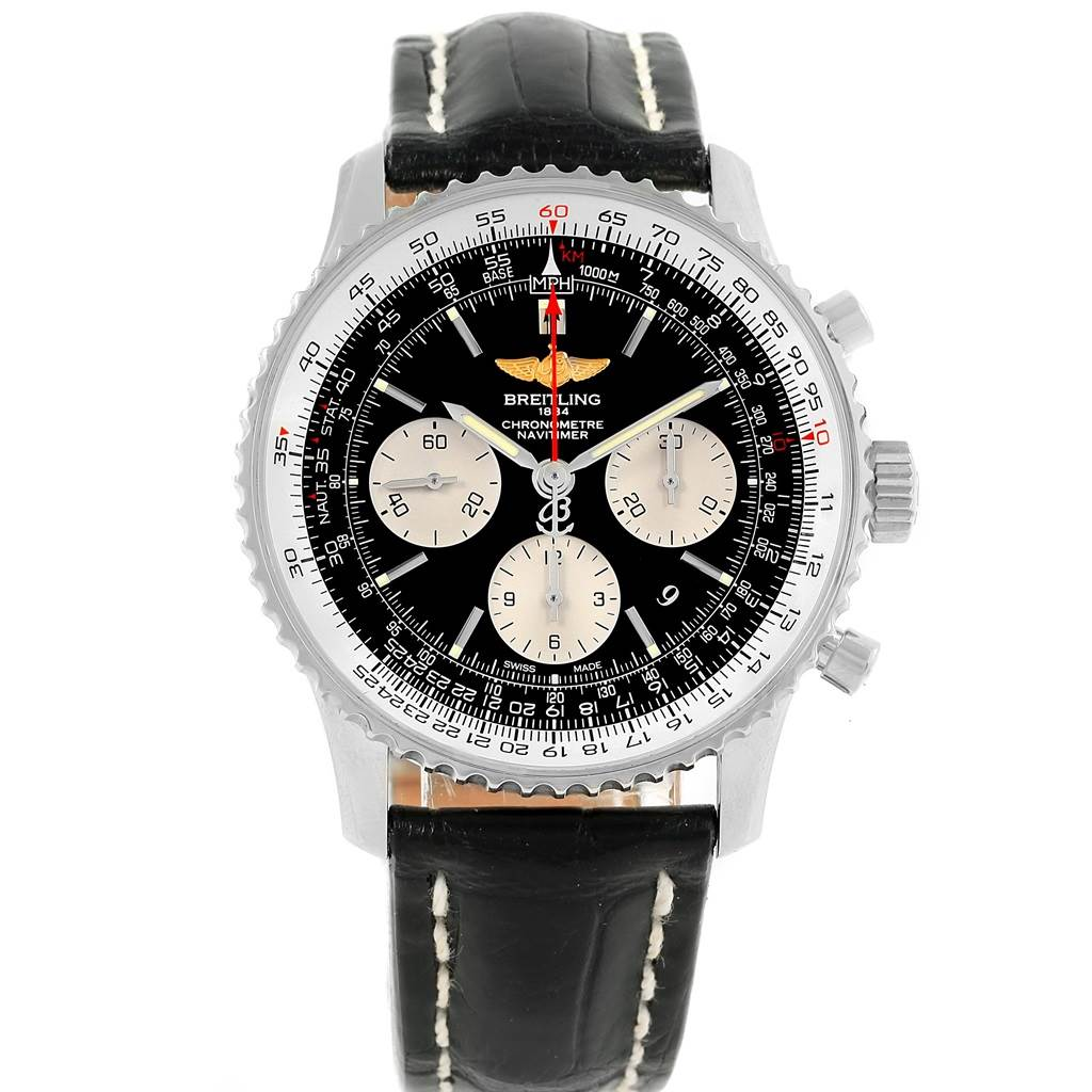 17756 Breitling Navitimer 01 Black Dial Automatic Steel Mens Watch AB0120 SwissWatchExpo