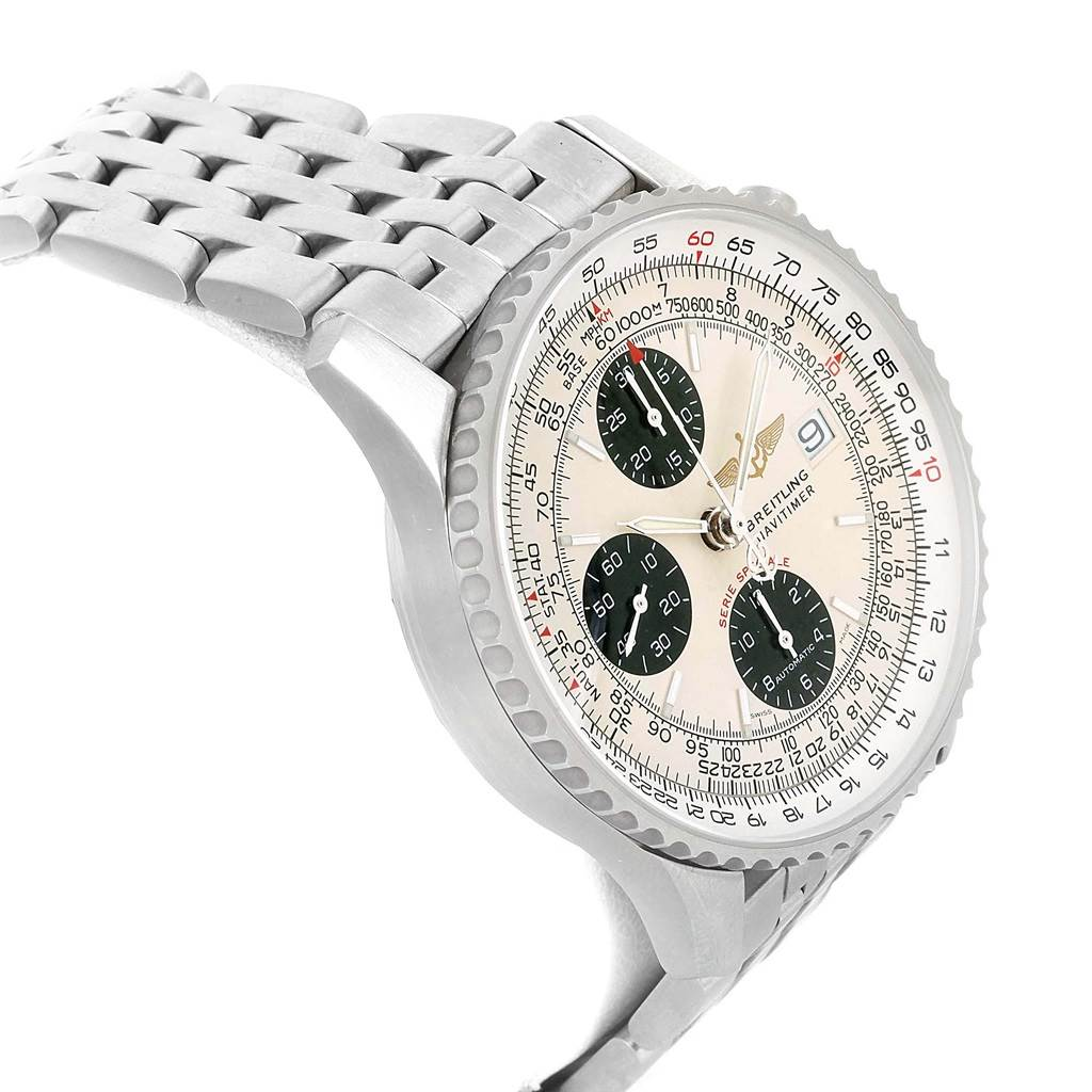 17806 Breitling Navitimer Fighter Chronograph Silver Dial Steel Watch A13330 SwissWatchExpo