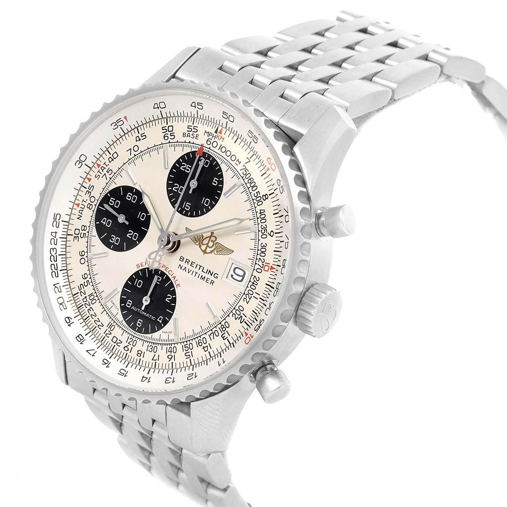 Breitling Navitimer Fighter Chronograph Silver Dial Steel Watch A13330 SwissWatchExpo