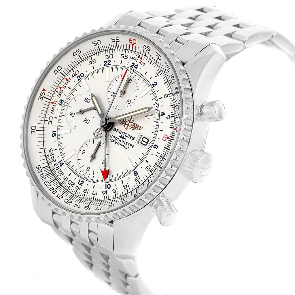 18067 Breitling Navitimer World Silver Dial Steel Watch A24322 Box Papers SwissWatchExpo