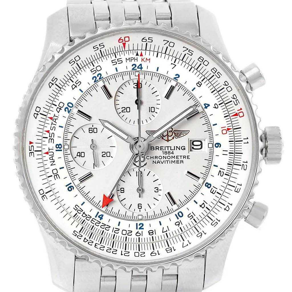 Breitling Navitimer World Silver Dial Steel Watch A24322 Box Papers