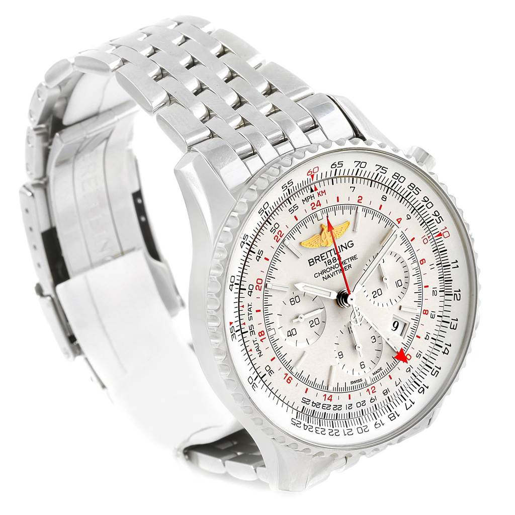 18358 Breitling Navitimer GMT 48 Silver Dial Mens Watch AB0441 Box Papers SwissWatchExpo