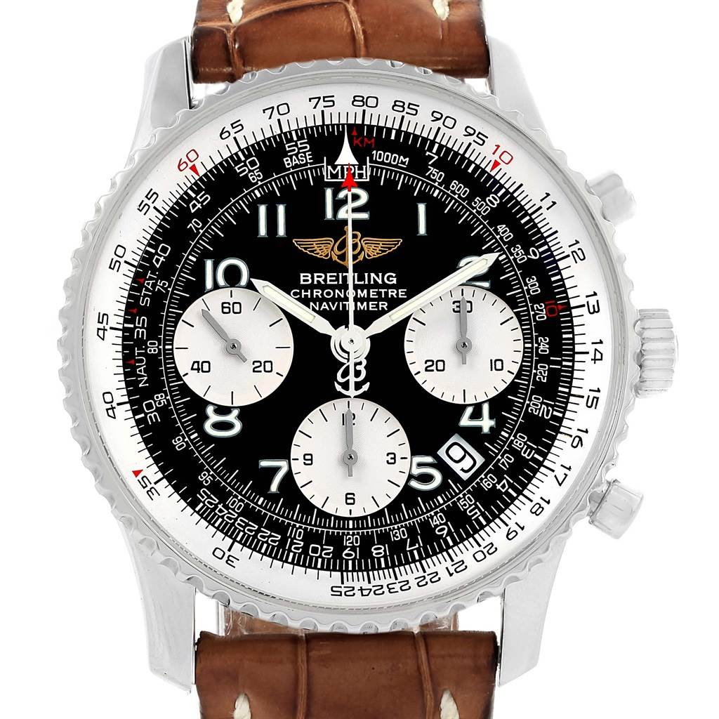 Breitling Navitimer Chronograph Black Dial Brown Strap Watch A23322 SwissWatchExpo