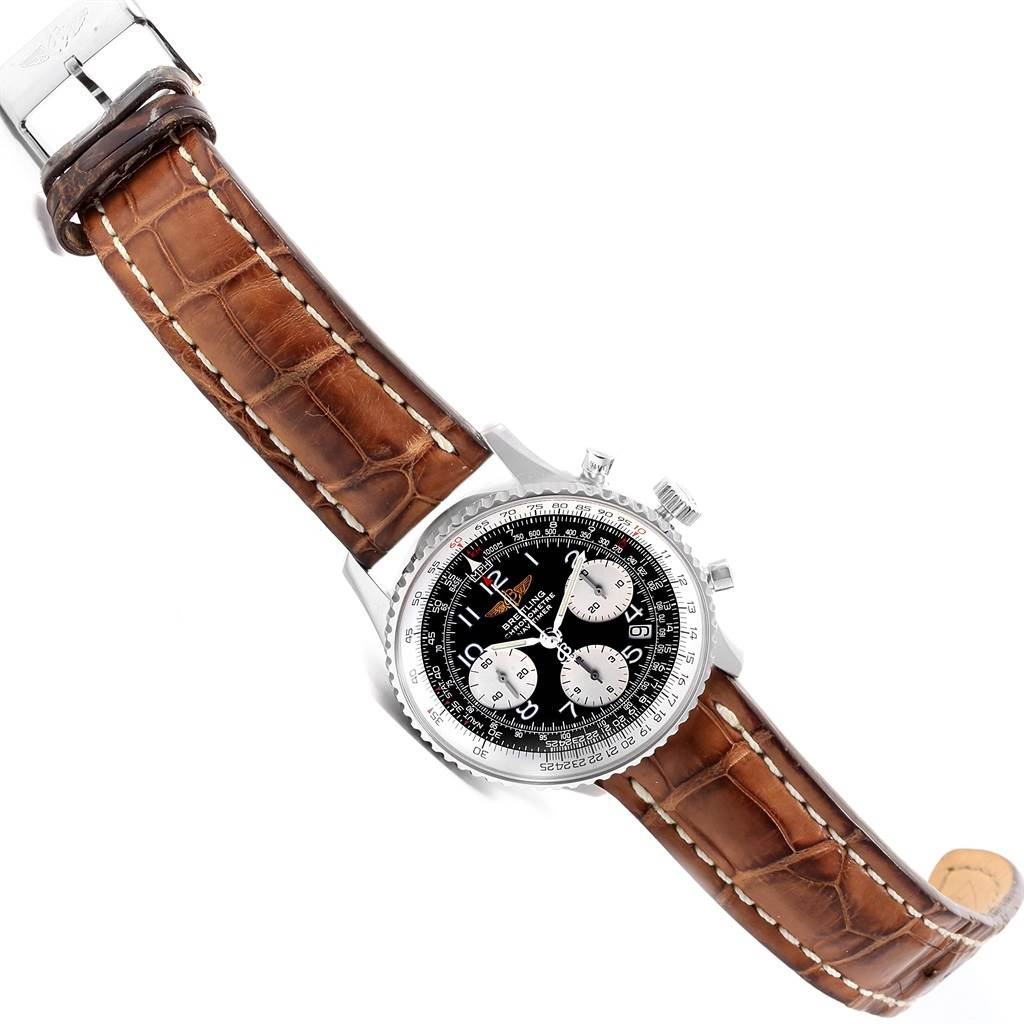 17920 Breitling Navitimer Chronograph Black Dial Brown Strap Watch A23322 SwissWatchExpo