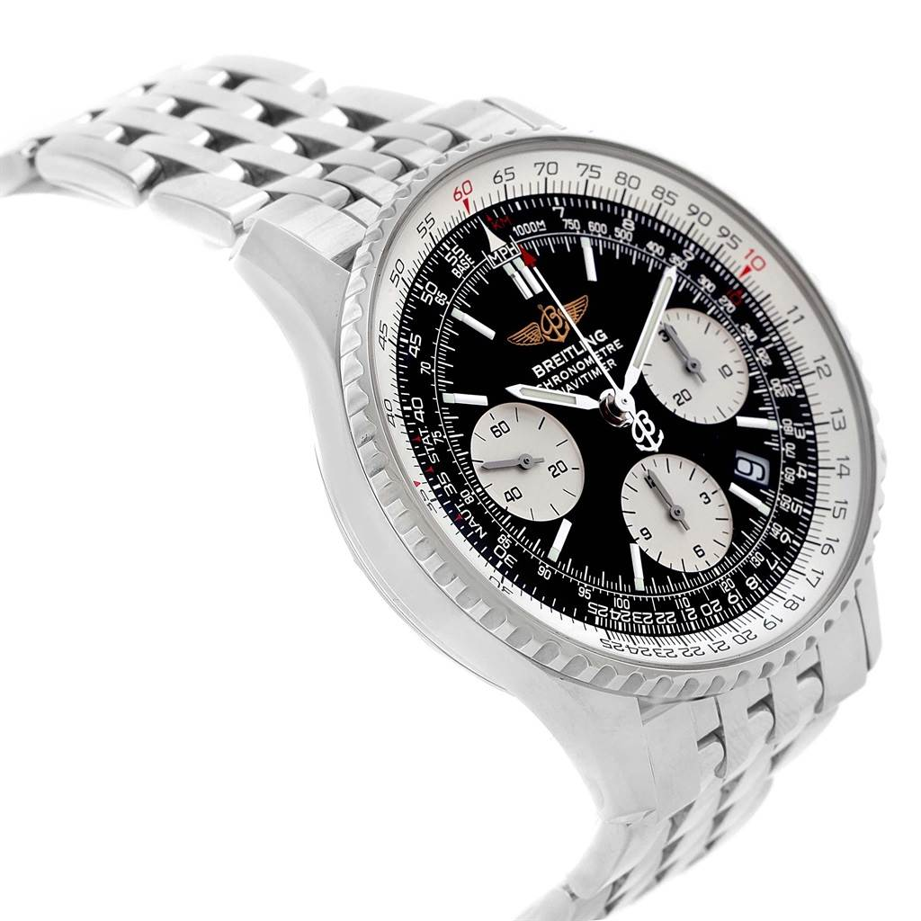 Breitling Navitimer Chronograph Black Dial Steel Watch A23322 Box SwissWatchExpo