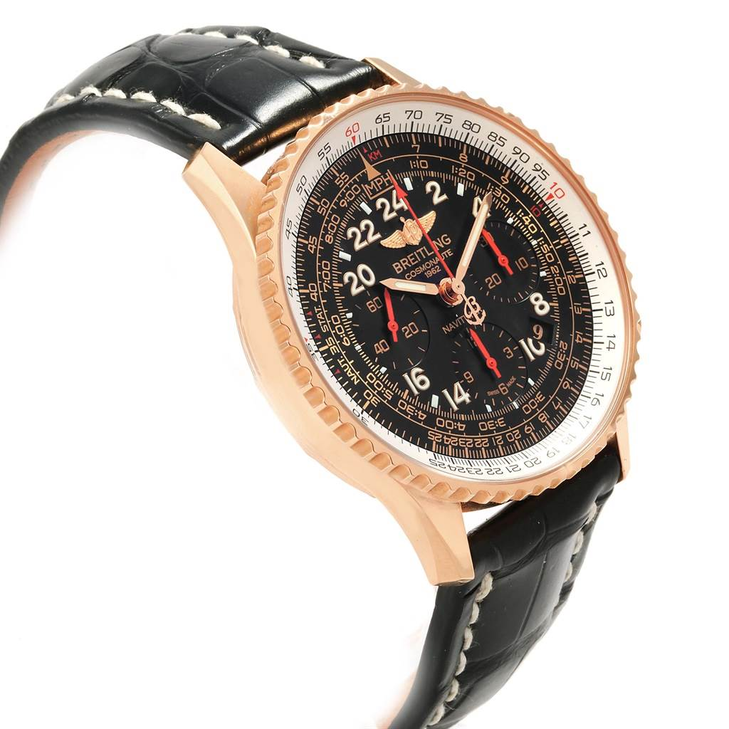 Breitling Navitimer Cosmonaute Rose Gold Carpenter LE Watch RB0210 SwissWatchExpo