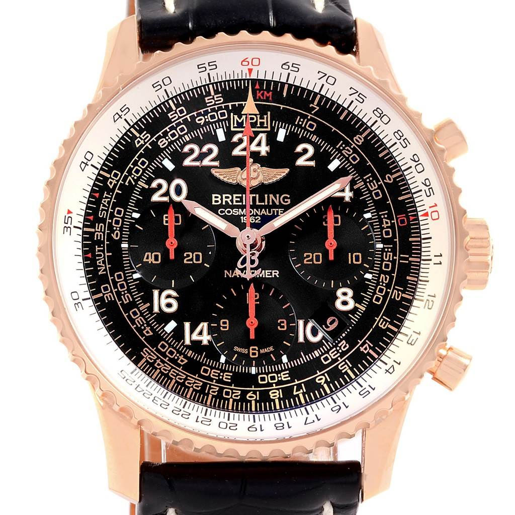18283 Breitling Navitimer Cosmonaute Rose Gold Carpenter LE Watch RB0210 SwissWatchExpo