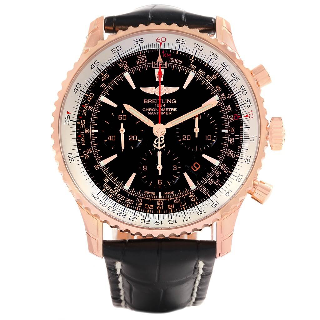 18256 Breitling Navitimer Rose Gold Limited Edition Watch RB0127 Unworn SwissWatchExpo