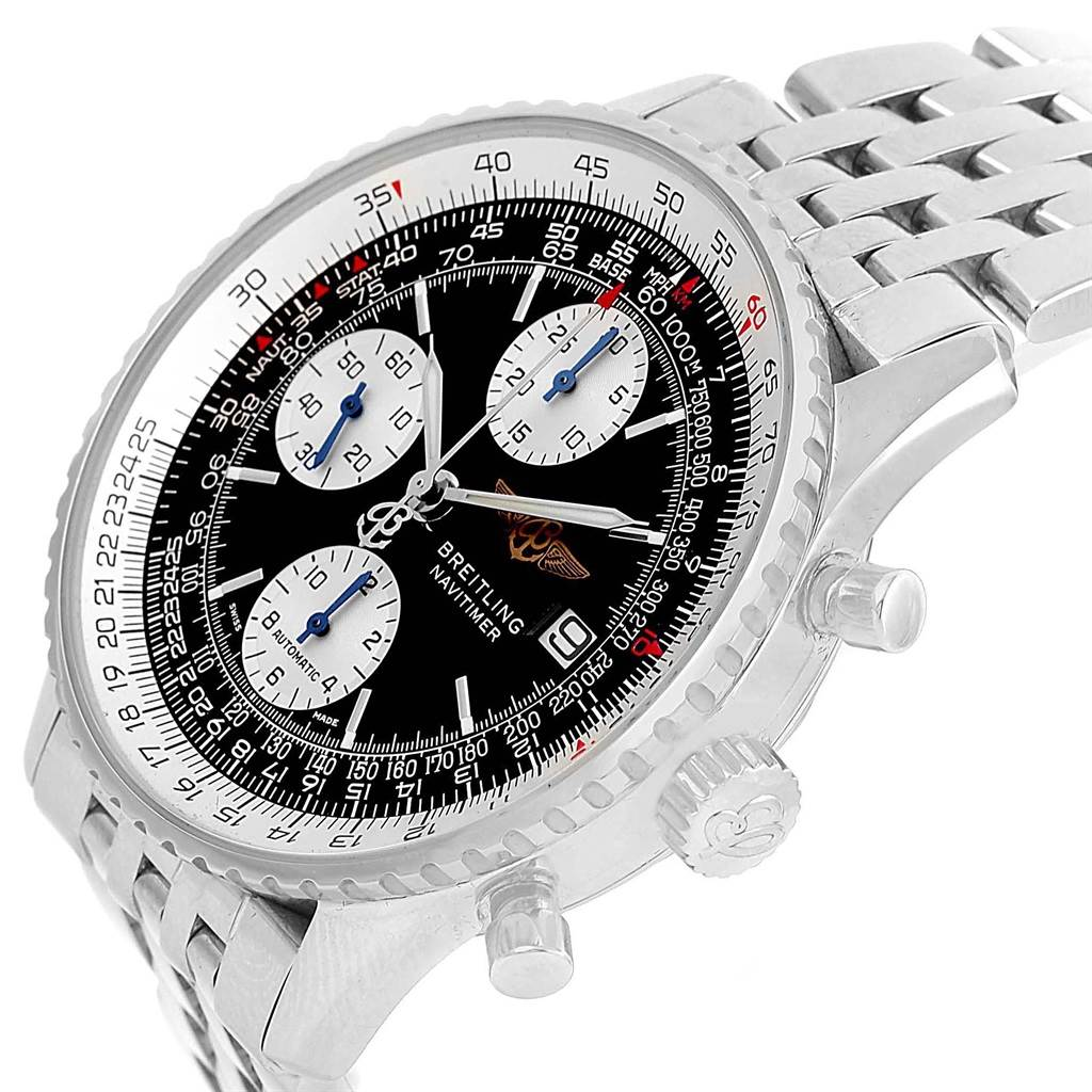 Breitling Navitimer II Black Dial Steel Mens Watch A13322 Box Papers SwissWatchExpo