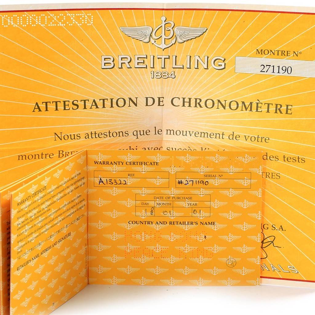 18482 Breitling Navitimer II Black Dial Steel Mens Watch A13322 Box Papers SwissWatchExpo