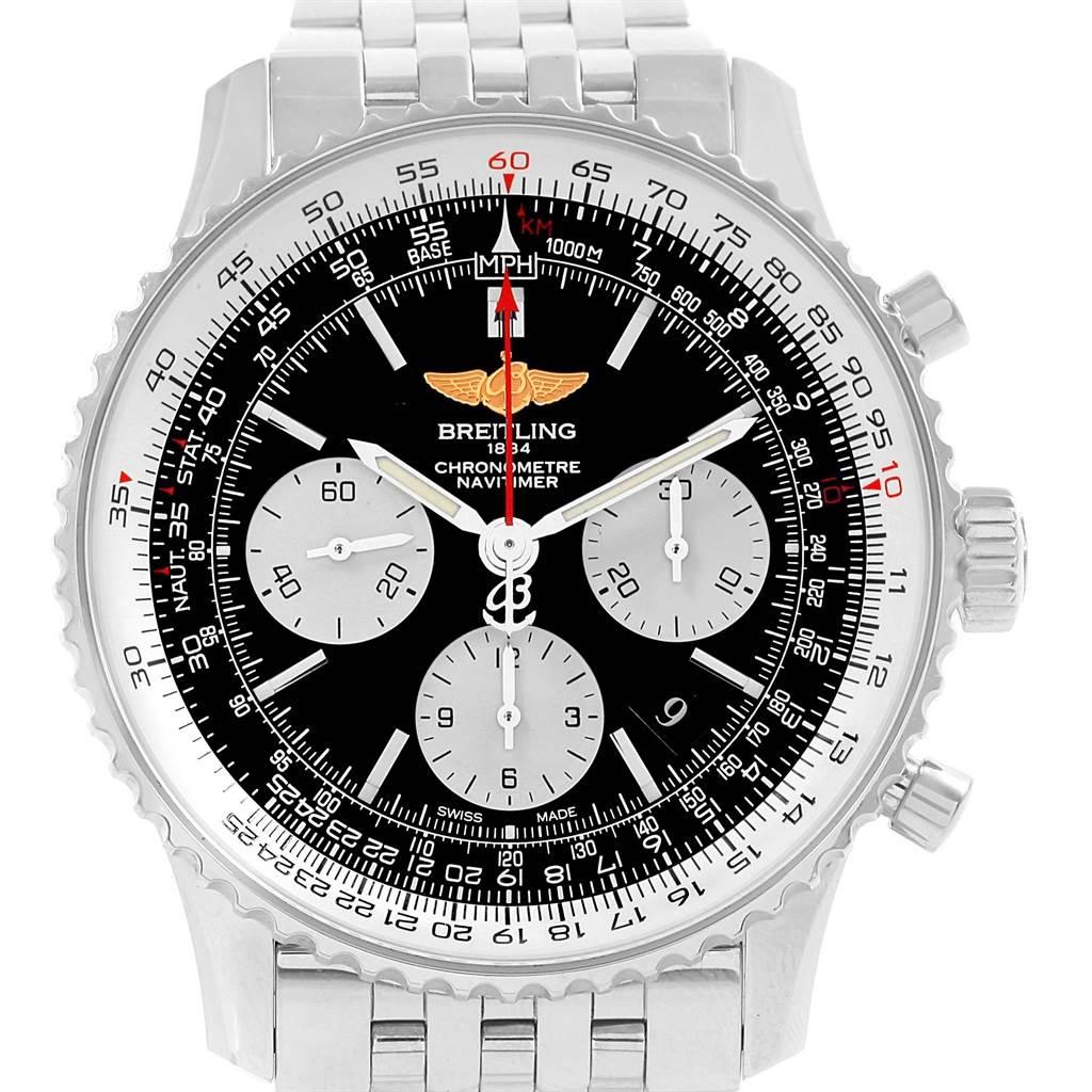18463 Breitling Navitimer 01 Black Dial Steel Mens Watch AB0120 Box SwissWatchExpo