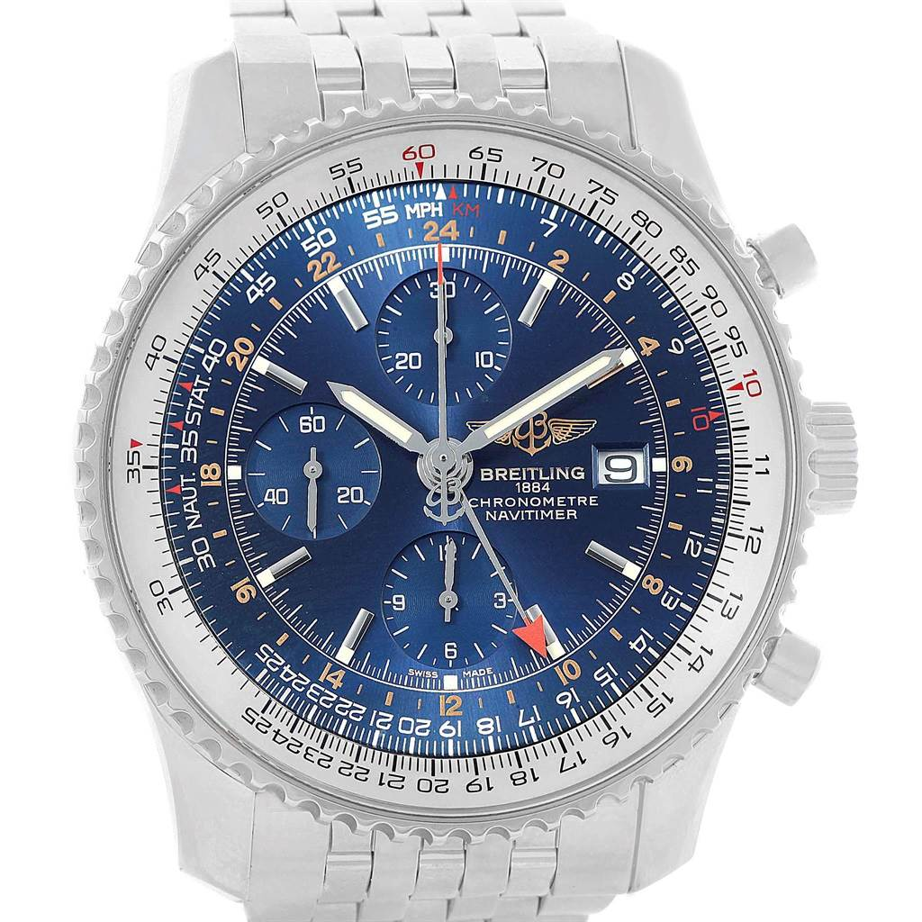 18483 Breitling Navitimer World Blue Dial Steel Mens Watch A24322 Box Papers SwissWatchExpo