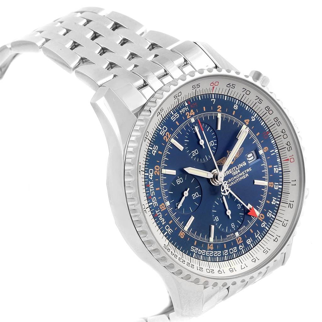 Breitling Navitimer World Blue Dial Steel Mens Watch A24322 Box Papers SwissWatchExpo