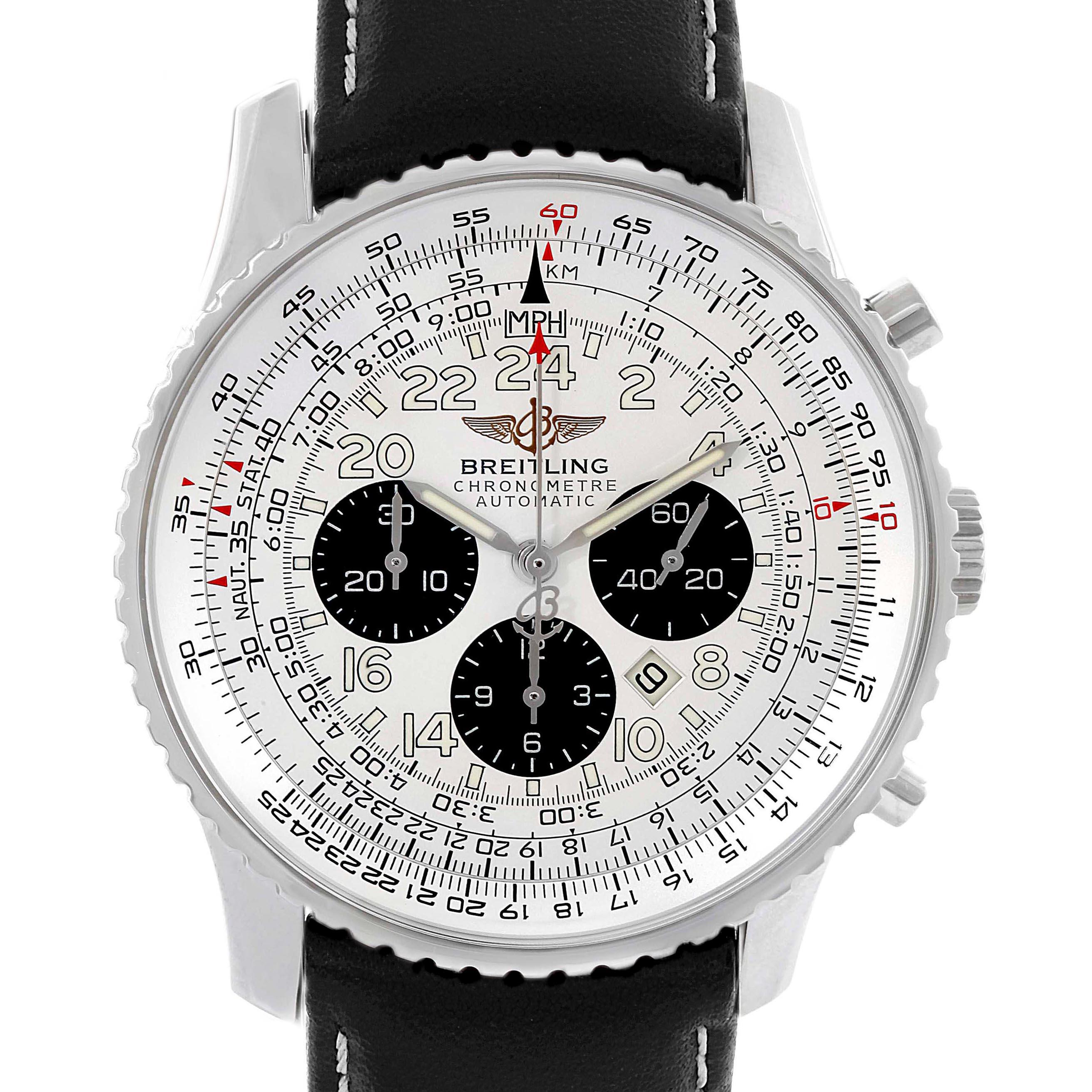 Breitling Navitimer Cosmonaute Black Strap Steel Mens Watch A22322