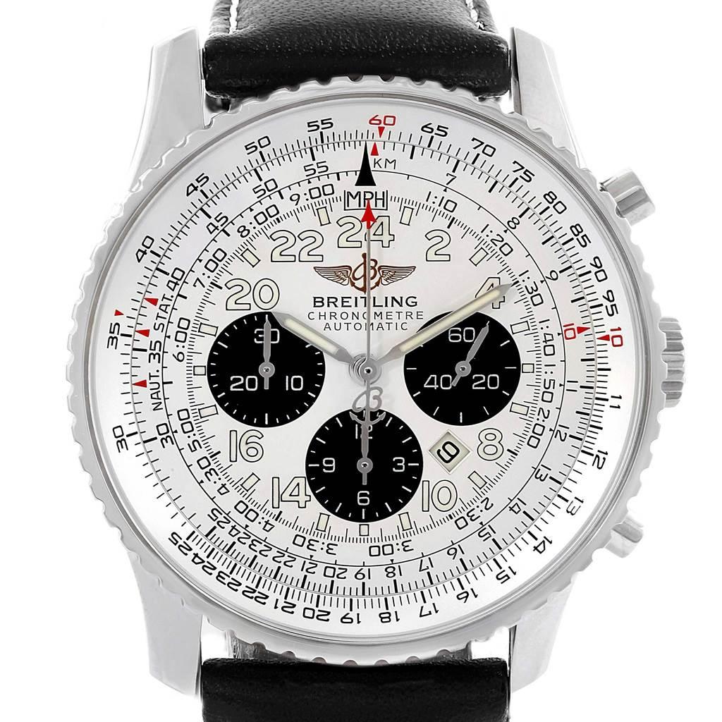 18474 Breitling Navitimer Cosmonaute Black Strap Steel Mens Watch A22322 SwissWatchExpo