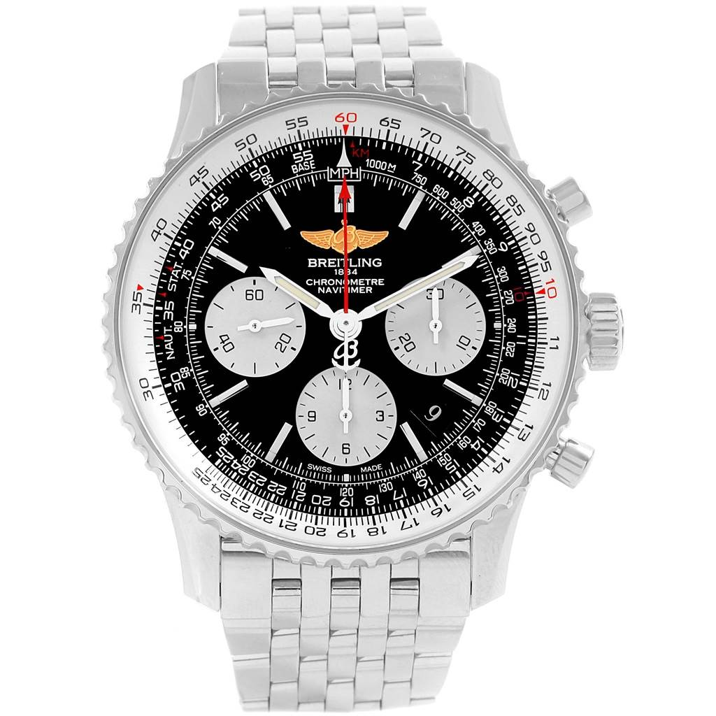 18662 Breitling Navitimer 01 Black Dial Steel Mens Watch AB0120 Box SwissWatchExpo