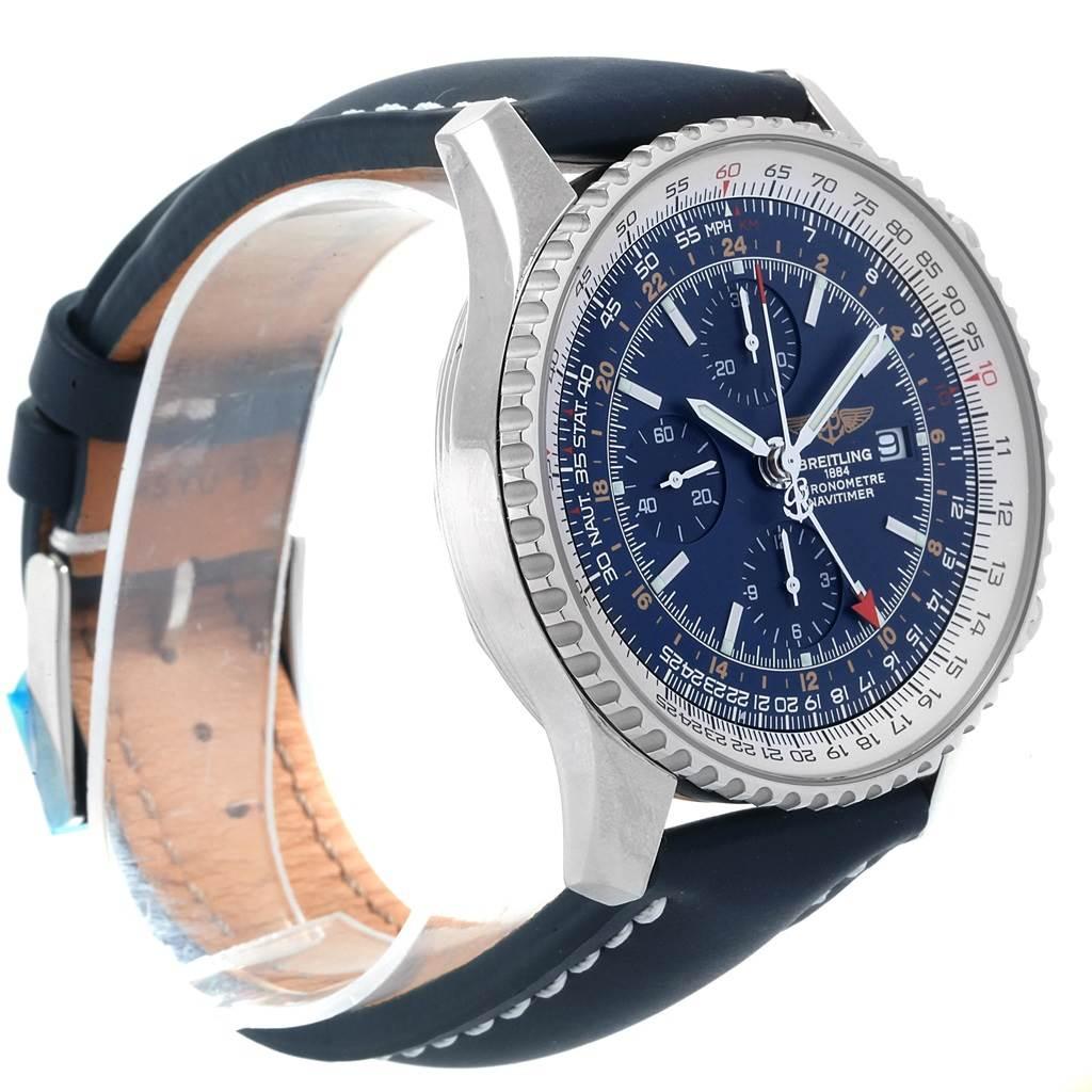 Breitling Navitimer World GMT Steel Blue Dial Strap Watch A24322 SwissWatchExpo