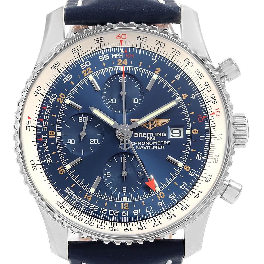 18689 Breitling Navitimer World GMT Steel Blue Dial Strap Watch A24322 SwissWatchExpo