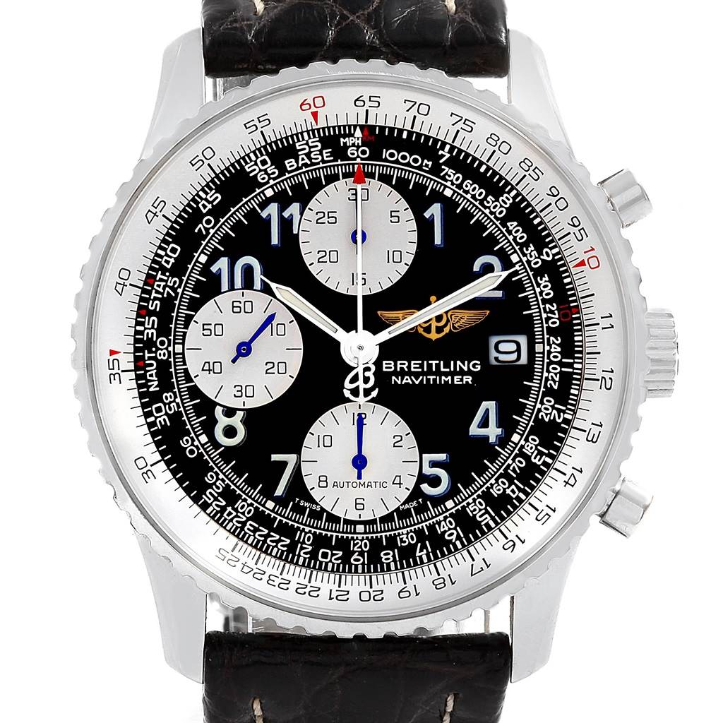 19187 Breitling Navitimer II Black Dial Chronograph Mens Watch A13322 SwissWatchExpo