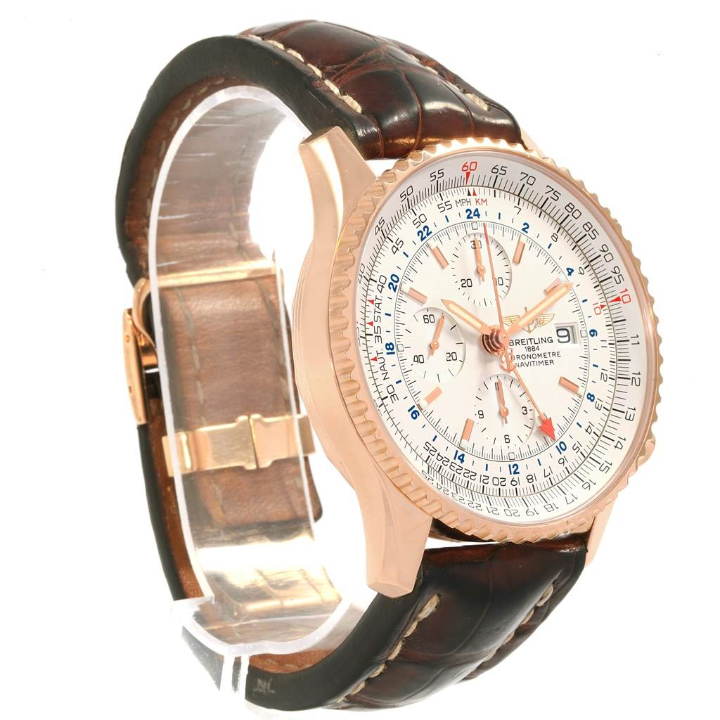 19211 Breitling Navitimer World 18K Rose Gold Silver Dial LE Watch H24322 SwissWatchExpo