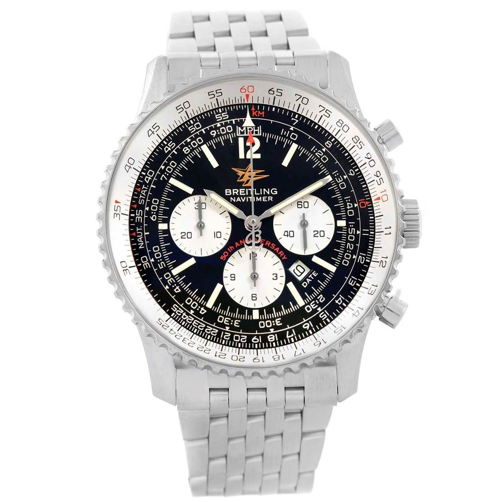 Breitling Navitimer 50th Anniversary Black Dial Watch A41322 Box Papers SwissWatchExpo