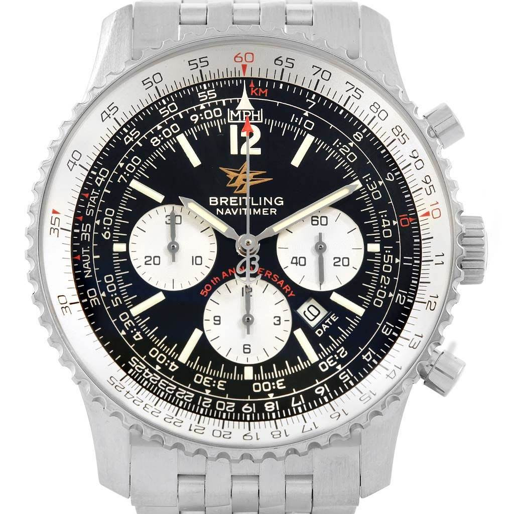 19216 Breitling Navitimer 50th Anniversary Black Dial Watch A41322 Box Papers SwissWatchExpo