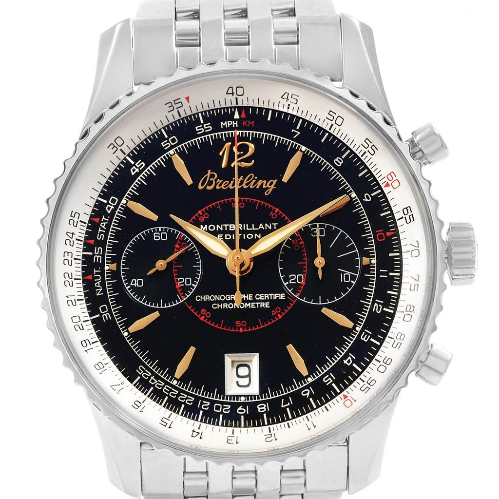 19256 Breitling Montbrillant Edition Steel Mens Watch A48330 SwissWatchExpo