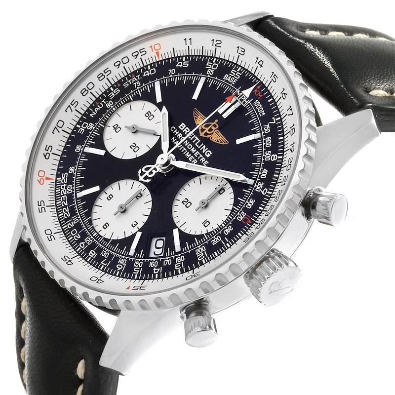 Breitling Navitimer Chronograph Black Strap Steel Mens Watch A23322 SwissWatchExpo