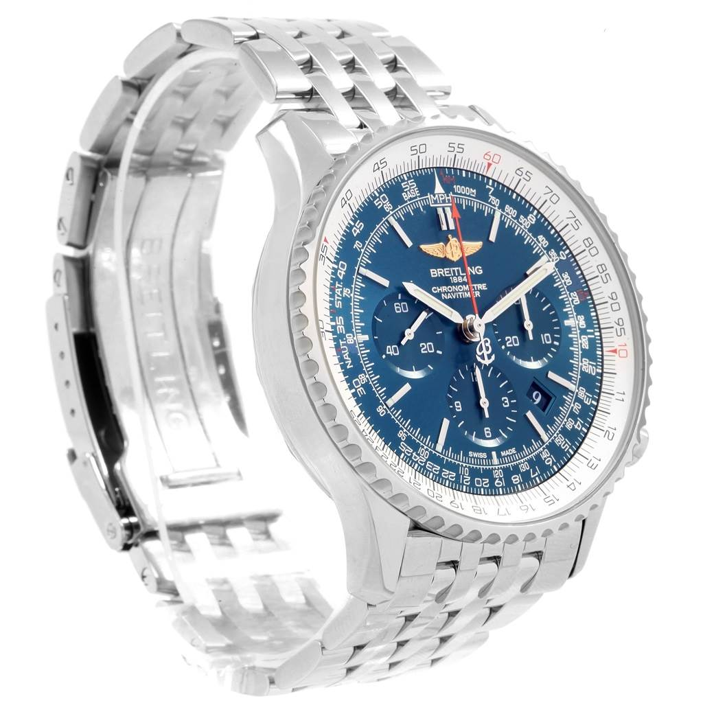 19851 Breitling Navitimer 01 46mm Aurora Blue Dial Mens Watch AB0127 SwissWatchExpo