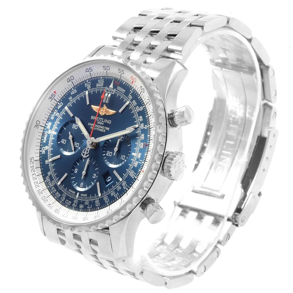 Breitling Navitimer 01 46mm Aurora Blue Dial Mens Watch AB0127 SwissWatchExpo