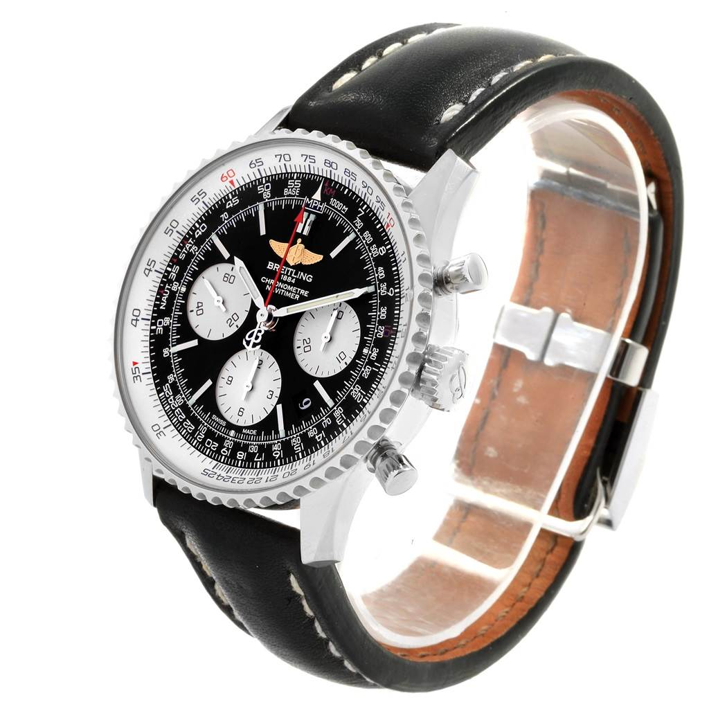 19824 Breitling Navitimer 01 Black Dial 43mm Chronograph Mens Watch AB0120 SwissWatchExpo