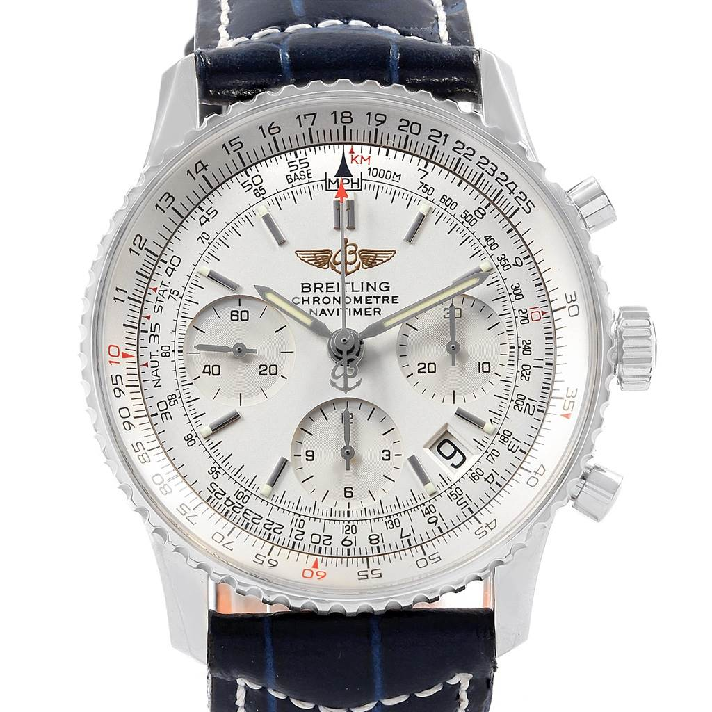 125af6be8b03 ... 19899 Breitling Navitimer Chrono Silver Dial Leather Strap Mens Watch  A23322 SwissWatchExpo ...